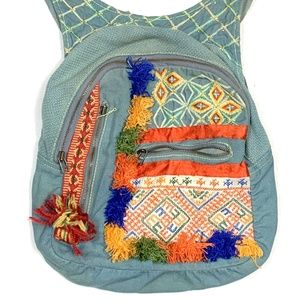 Free People Blue Green Canvas Backpack Bag Boho